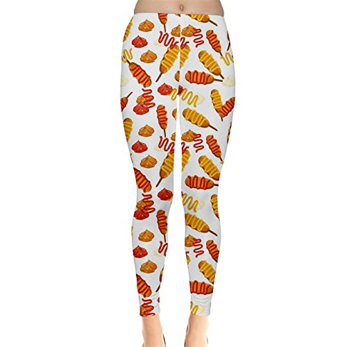 CowCow Colorful Corn Dog with Ketchup and Mustard Seamless Women's Leggings, Colorful-S (Corn Dog Clothing compare prices)