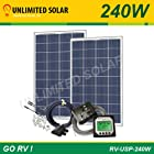 Rv Solar Power Kit 240 Watt 12 Volt - Unlimited Solar - Go Rv - USP Series - 2 X 120 Watt