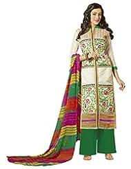 Surat Tex Cream Color Embroidered Chanderi Cotton Un-Stitched Dress Material