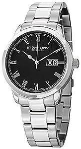 Stuhrling Original Men's 831B.01 Classic Cuvette Panache Elite Analog Display Swiss Quartz Silver Watch