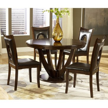 Homelegance VanBure 5 Piece Round Pedestal Dining Room Set in Rich Cherry