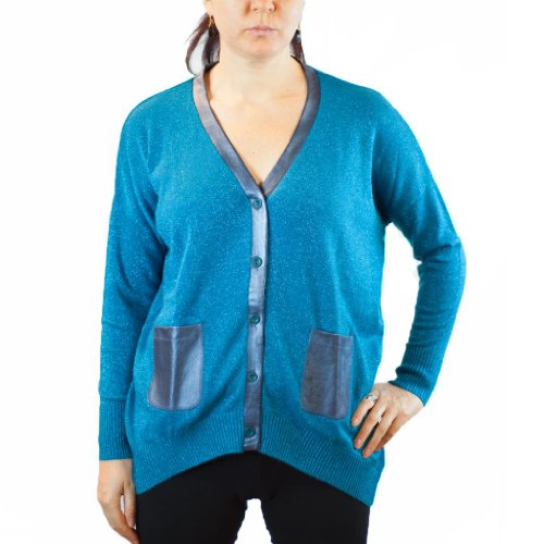 Maglierie Di Perugia D 13641 Az Electric Blue Front Button V-Neck Cardigan
