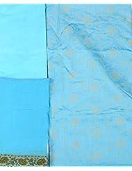 Exotic India Scuba-Blue Banarasi Salwar Kameez Fabric With All-Over Woven - Blue