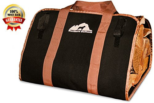 Northern Outback SUPERSIZED Firewood Log Carrier 16oz Canvas Wood Tote! - Best for Fireplaces - Wood Stoves - Firewood - Logs - Camping - Beaches - Landscaping! (Wood Tote compare prices)