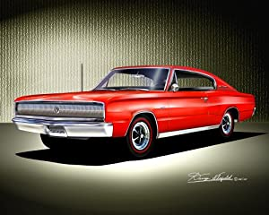 1966-1967 DODGE CHARGER Bright red - ART PRINT POSTER BY ARTIST DANNY