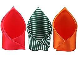 Sorella'z Hot Pink, Green Striped & Orange Satin Pocket Square Combo