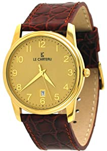 Le Chateau #7076MG_G Men's Classica Collection Gold Dial Leather Band Dress Watch