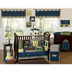 Sweet Jojo Designs Construction Zone Blue Baby Boy Truck Bedding 9pc Crib Set