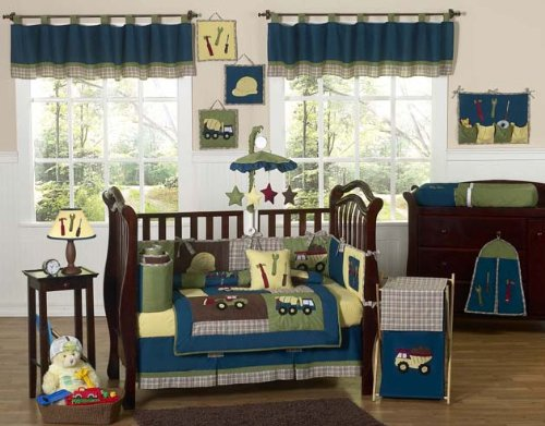 Sweet Jojo Designs Construction Zone Blue Baby Boy Truck Bedding 9pc Crib Set (Big Truck Bedding compare prices)