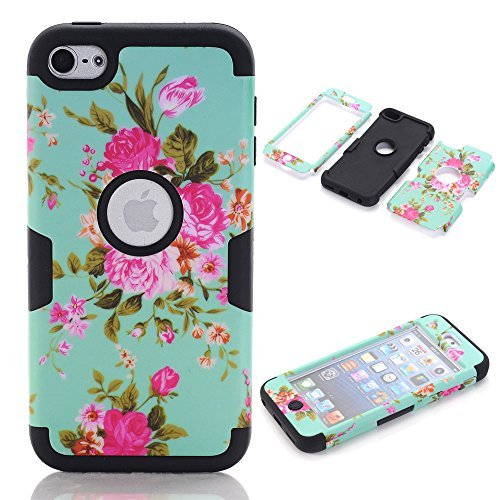 Topforcity? K PC + TPU Blue Flower Pattern Hybrid Impact Armored Hard Case for Apple ipod touch 6 with Screen Protector (Black)