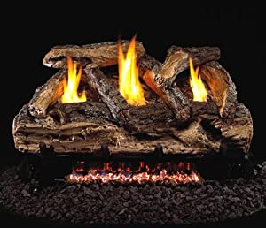 """R.H. Peterson S9G9-20-15P - 20"""" Ventless Split Oak Vent Free Gas Logs with Burner for Liquid Propane Fireplaces."""