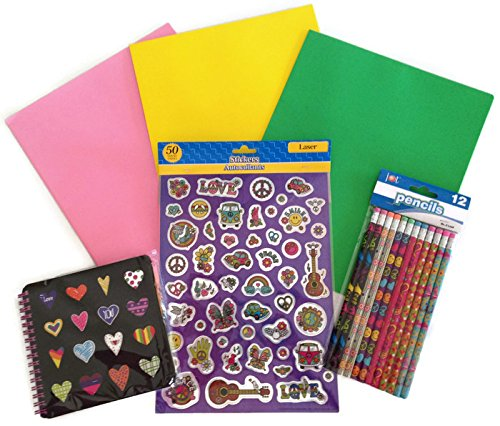 Peace Love Back to School Glitter Binder Sticker Hearts Pencil Supply Bundle - 4 Items: One Heart Spiral Small Notebook, 3 Pack of Binder Folders, One Set of Laser Glitter Stickers, One Pack of Peace & Love Pencils