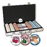 Da Vinci Set of 300 Welcome To Las Vegas Poker Chips w/Aluminum Case & Dealer Button