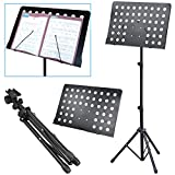 Popamazing Heavy Duty Orchestral Sheet Music Stand Holder Height Adjustable Tripod Base