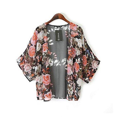 Orangesky Vintage Floral Kimono Boho Chiffon Cardigan 5