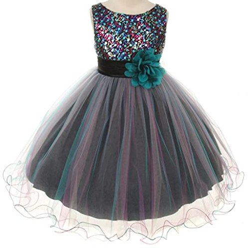 Sparkly Sequined Mesh Flower Girls Dress Pageant Wedding Prom Easter Graduation Teal Blue 2-14