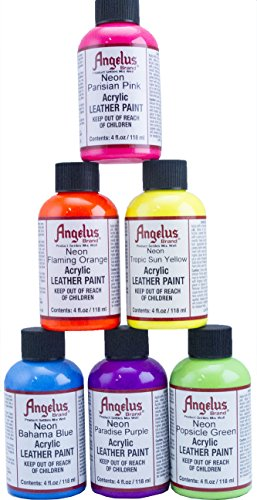 Angelus 4oz Neon Paint 6pk (Angelus Leather Paint Neon Colors compare prices)