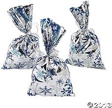 48 Mylar Metallic Snowflake Goody Bags