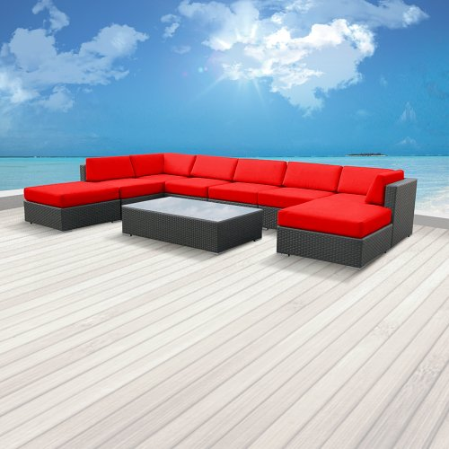 Luxxella Patio Mallina Outdoor Wicker Furniture 9-Piece All Weather Couch Sofa Set, Red photo