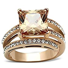 buy 316L Stainless Steel Rose Gold Plated Champagne Color Square Cubic Zirconia Ring, Size 10