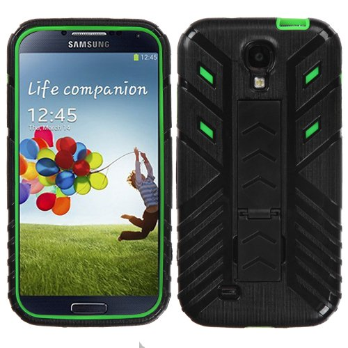 Fits Samsung I337 I9500 Galaxy S 4 Hard Plastic Snap On Cover Black/Electric Green Transformers Advanced Armor Stand At&T