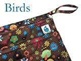 Cheeky Wipes Reusable Nappy Swim Double Wetbag (Two Pocket) (Medium, Brown Birds)