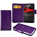 (Purple) Blackberry Curve 8520 Protective Mega Thin Faux Leather Suction Pad Wallet Case Cover Skin With Credit/Debit Card Slots Aventus