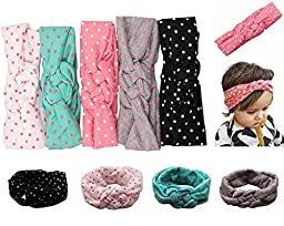 Qandsweet Baby Girl\'s Turban Head Wrap Knotted Hair Band (5 Pack)