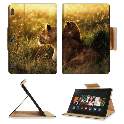 Lion Lion Cub Family Cub Caring Baby Sunshine Amazon Kindle Fire Hdx 8.9 [2013 Version] Premium Deluxe Pu Leather Flip Case Stand Magnetic Cover Open Ports Customized Made To Order Support Ready 9 13/16 Inch (250Mm) X 6 7/8 Inch (175Mm) X 11/16 Inch (17Mm front-756554