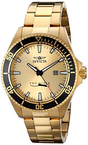 Invicta 15186 Pro Diver Orologio da Polso, Display Analogico, Uomo, Bracciale Acciaio Inossidabile, Oro