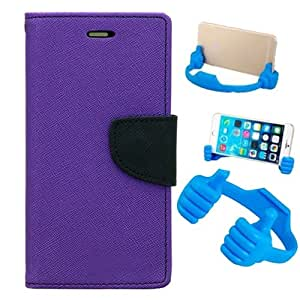 Aart Fancy Diary Card Wallet Flip Case Back Cover For Mircomax Yureka - (Purple) + Flexible Portable Mount Cradle Thumb Ok Stand Holder By Aart store