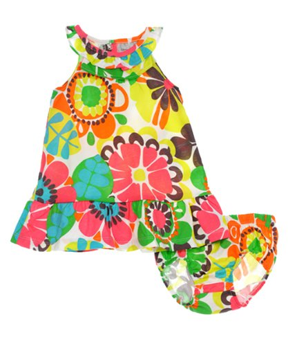 Carters Girls 3-24 Months Tropical Floral Print Sleeveless Dress (3 Months, Tropical) front-747609