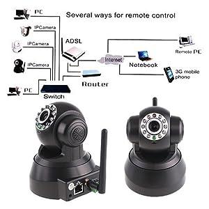 EasyN Caméra Nightvision sans fil WIFI LED IR IP Noire audio bidirectionnelle