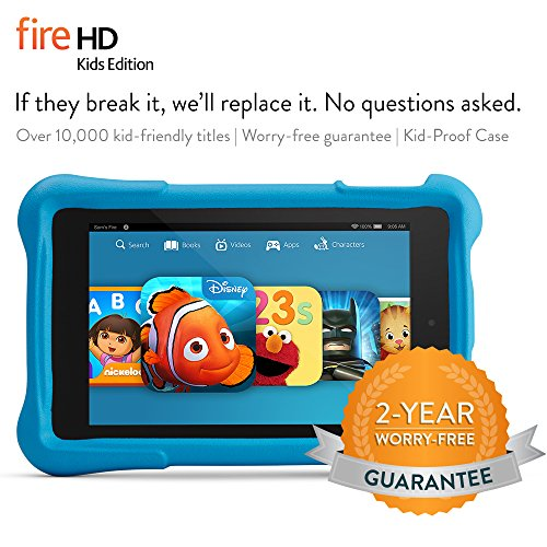 "Fire HD 6 Kids Edition, 6"" HD Display, Wi-Fi, 16 GB, Blue Kid-Proof Case"