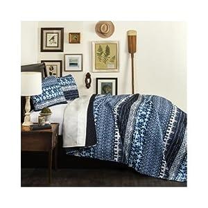 Reversible Blue Tie Dye Quilt Modern Bedding Set (Navy king)