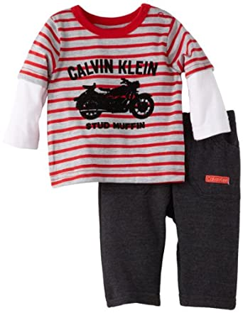 Calvin Klein Baby-boys Newborn Twofer Long Sleeve Tee with Pants, Gray, 0-3 Months