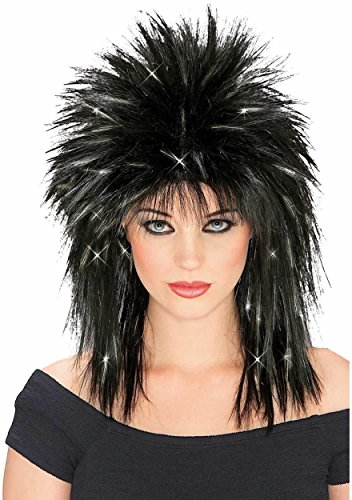 [Rubie's Superstar Black Wig with Silver Tinsel] (Punk Rocker Costume Accessories)