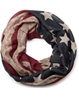 styleBREAKER Vintage Design USA Flaggen Muster Loop Schlauchschal, Stars and Stripes, Unisex 01016083