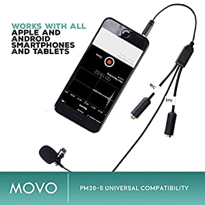 Movo Executive Lavalier Clip-on Interview Microphone with Secondary Mic & Headphone Monitoring Input for Apple iPhone, iPad, Samsung, Android Smartphones/Tablets