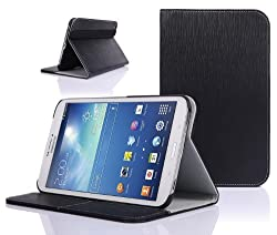 SUPCASE Samsung Galaxy Tab 3 8.0 inch Tablet Slim Hard Shell Leather Case with Auto Wake/Sleep - Black Multi-Angle Viewing Business Card Holder