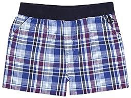 JoJo Maman Bebe Check Shorts (Baby)-Blue-0-3 Months