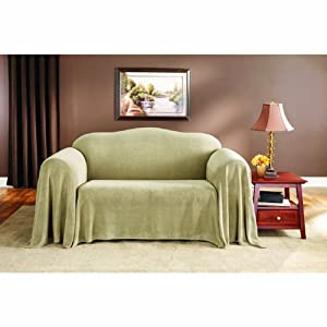 Sure Fit Plush Throw Sofa , Fits 74 inch to 96 inch, Wheat