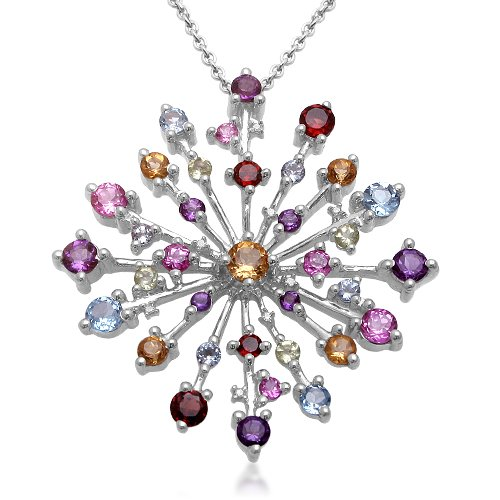 Sterling Silver Multi-Gemstone and Diamond Pendant Necklace