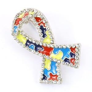 Autism Awareness Ribbon Brooch