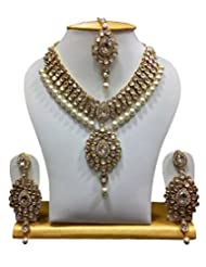 MoKanc Dazzling Famous Kundan Necklace Set In White With Pearls