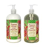 Passion Flower And Olive Oil Shea Butter Hand & Body Lotion And Passion Flower And Olive Oil Shea Butter Hand Soap Duo Set 16 Oz Each By Greenwich Bay Trading Co.