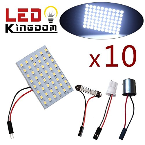 LEDKINGDOMUS 10 X Cool White T10 921 194 & BA9S Festoon Car Trailer 48 SMD Interior LED Light Panel 12V