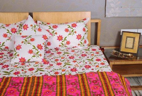 Imagen 5 de Hoja Traditional Floral Design Bed conjunto con cojines a juego Cubra Una colcha y almohada Casos Tamaño 90 x 108 pulgadas