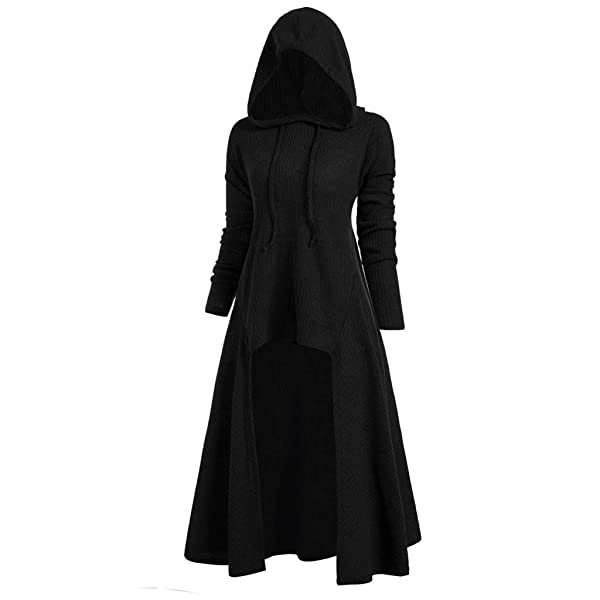 Nuewofally Steampunk Vintage Hoodie for Women Plus Size Gothic Hi-Low Outfits Dresses Tailcoat Cut Out Cosplay Costume (Black,XL) (Color: Black, Tamaño: X-Large)