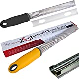 Quality Stainless Steel Grater/Zester (Black) Includes A Free Bonus Culinary Guide & Replaces Many Other Kitchen Tools; Perfect For Lemon, Parmesan & More - From Chefs Necessities